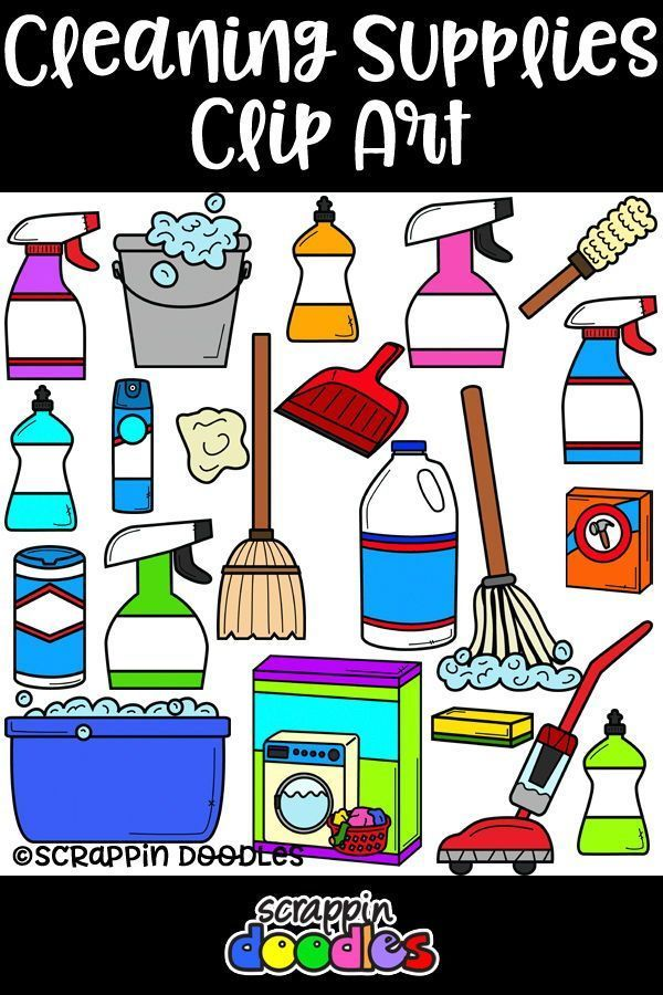 Housekeeping clipart car wash supply. Cleaning supplies scrappin doodles