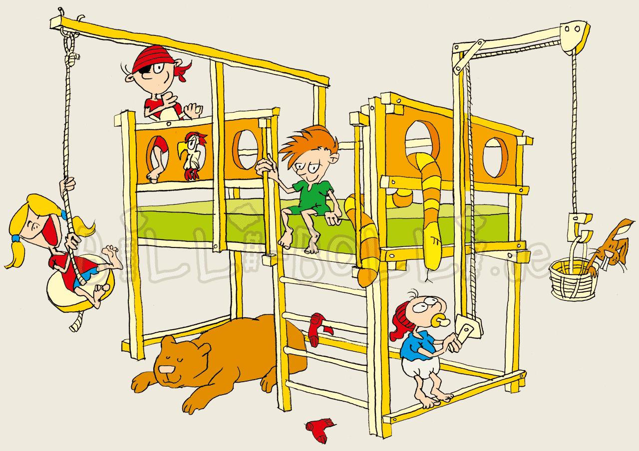 Clean clipart bed room. Kids beds billi bolli