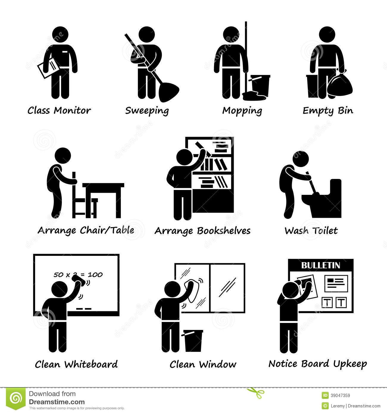 Cleaning clipart class duty. Classroom student roster stock