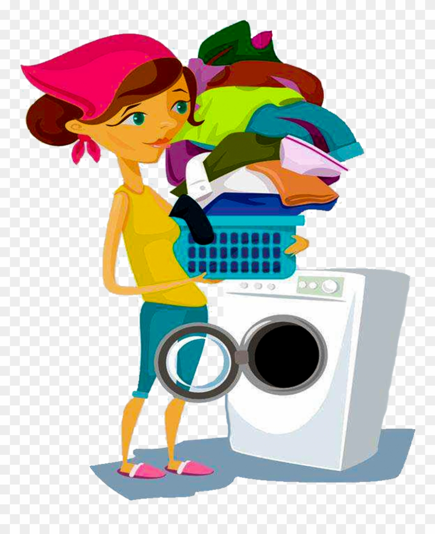Cleaning clipart washed clothes. Clean washing machine with