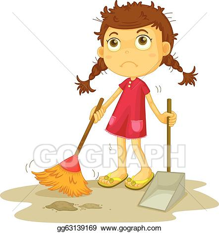 Clean clipart clean floor. Clip art vector girl
