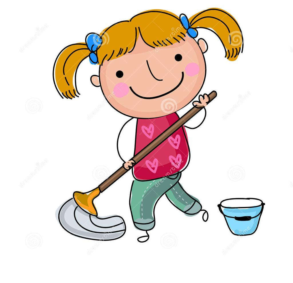 Floor clipart cute. Girl cleaning illustration