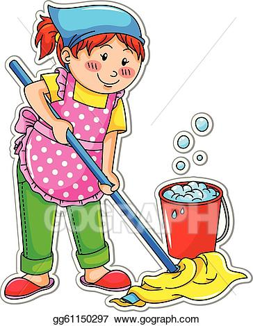 Cleaning clipart washing floor. Vector illustration girl eps