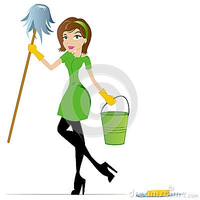 Lady clipart housekeeping. Cleaning cartoon mascot stock