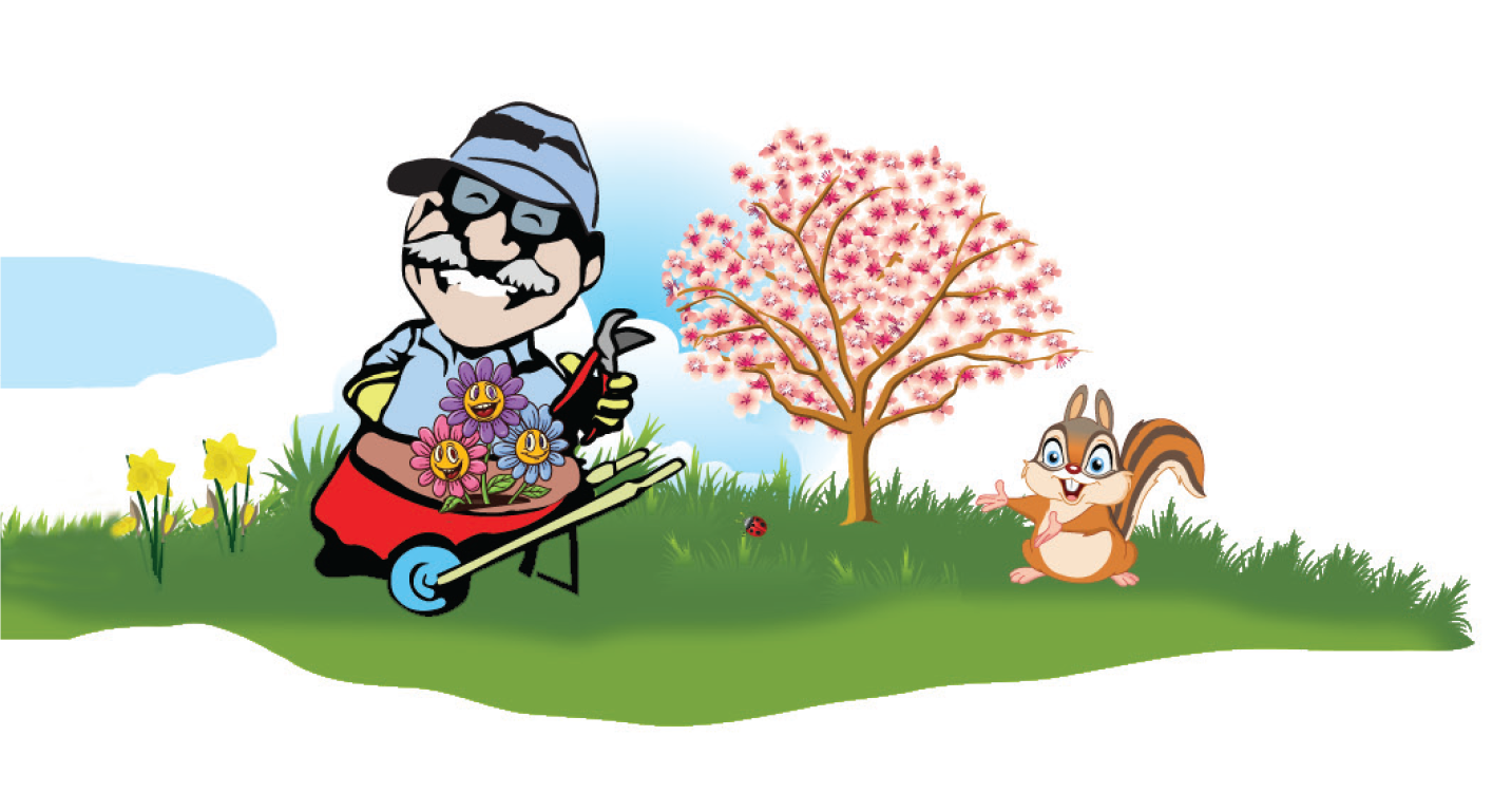 Spring yard cleaning raking. Professional clipart animated