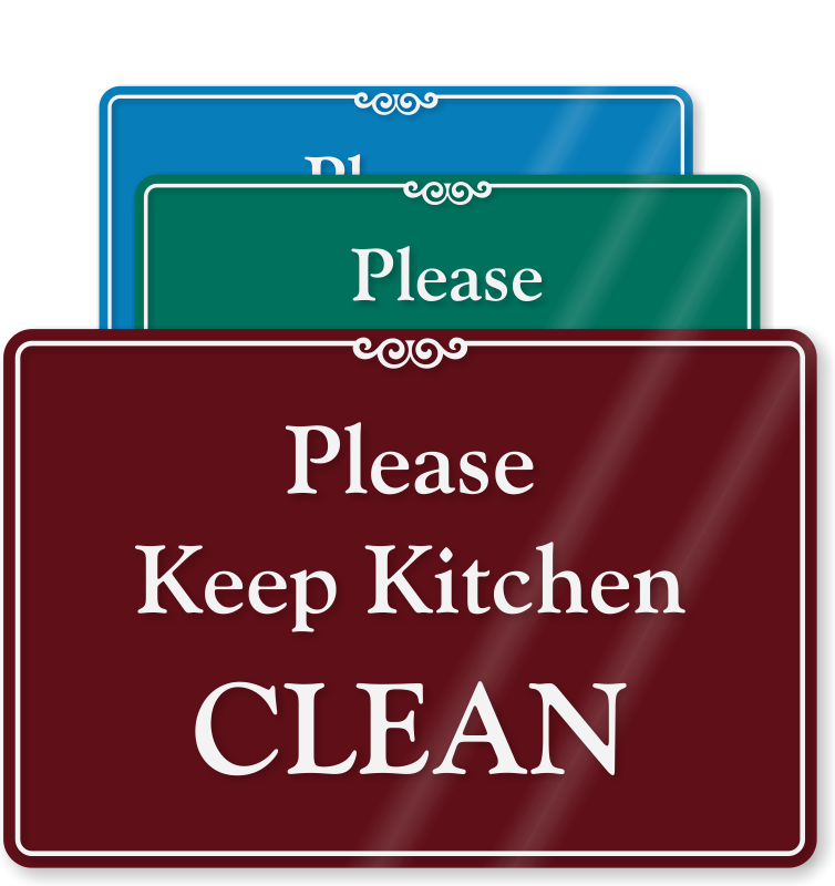 Kitchen signs keep courtesy. Clean clipart dining table