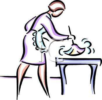 Maid clipart dust furniture. Drawing house line of