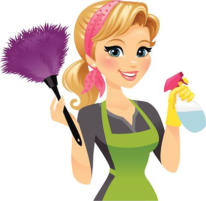 Housekeeping clipart woman. Cleaning lady vector art