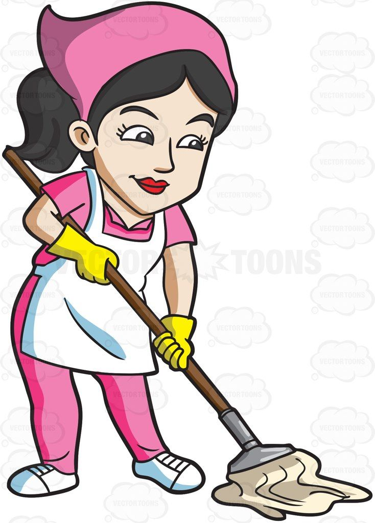 A mopping the floor. Maid clipart clean