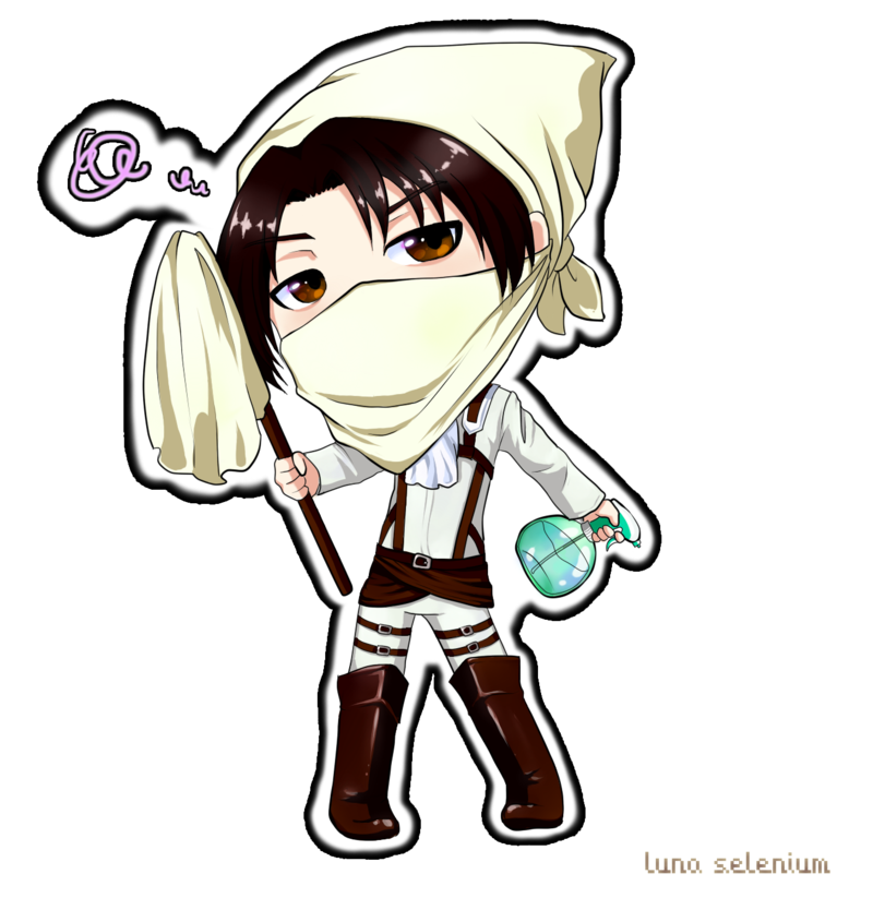 Youtube clipart attack on titan. Chibi heichou cleaning levi