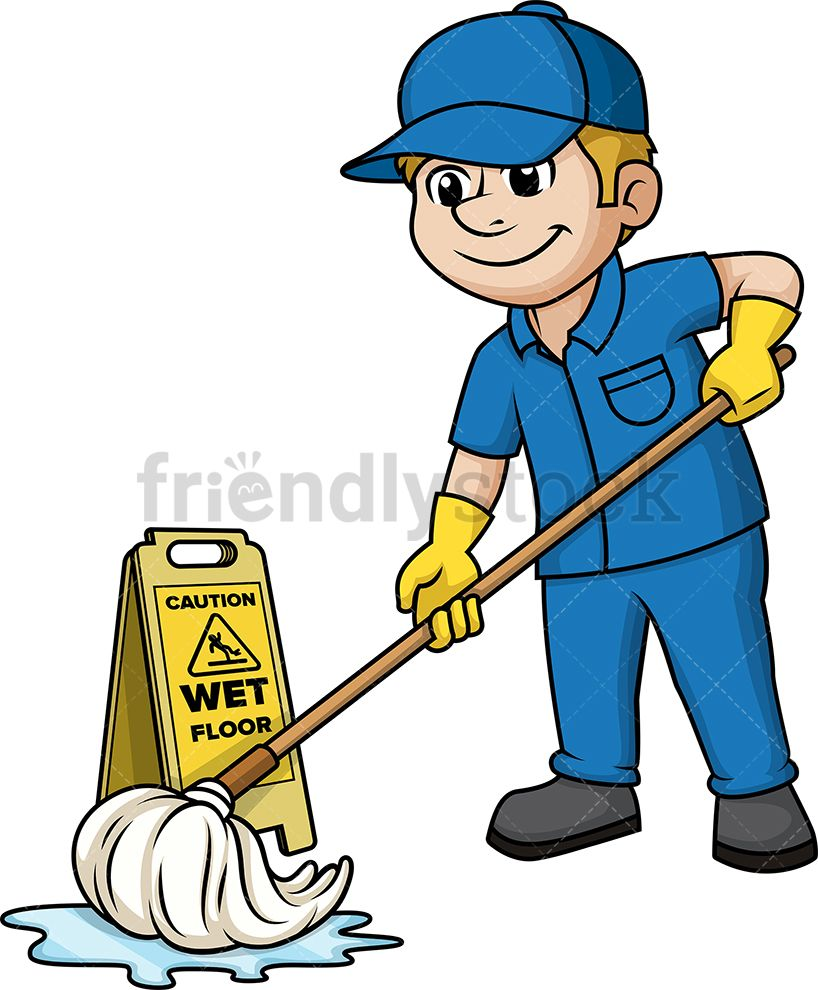 Housekeeping clipart sweep mop. Man mopping the floor