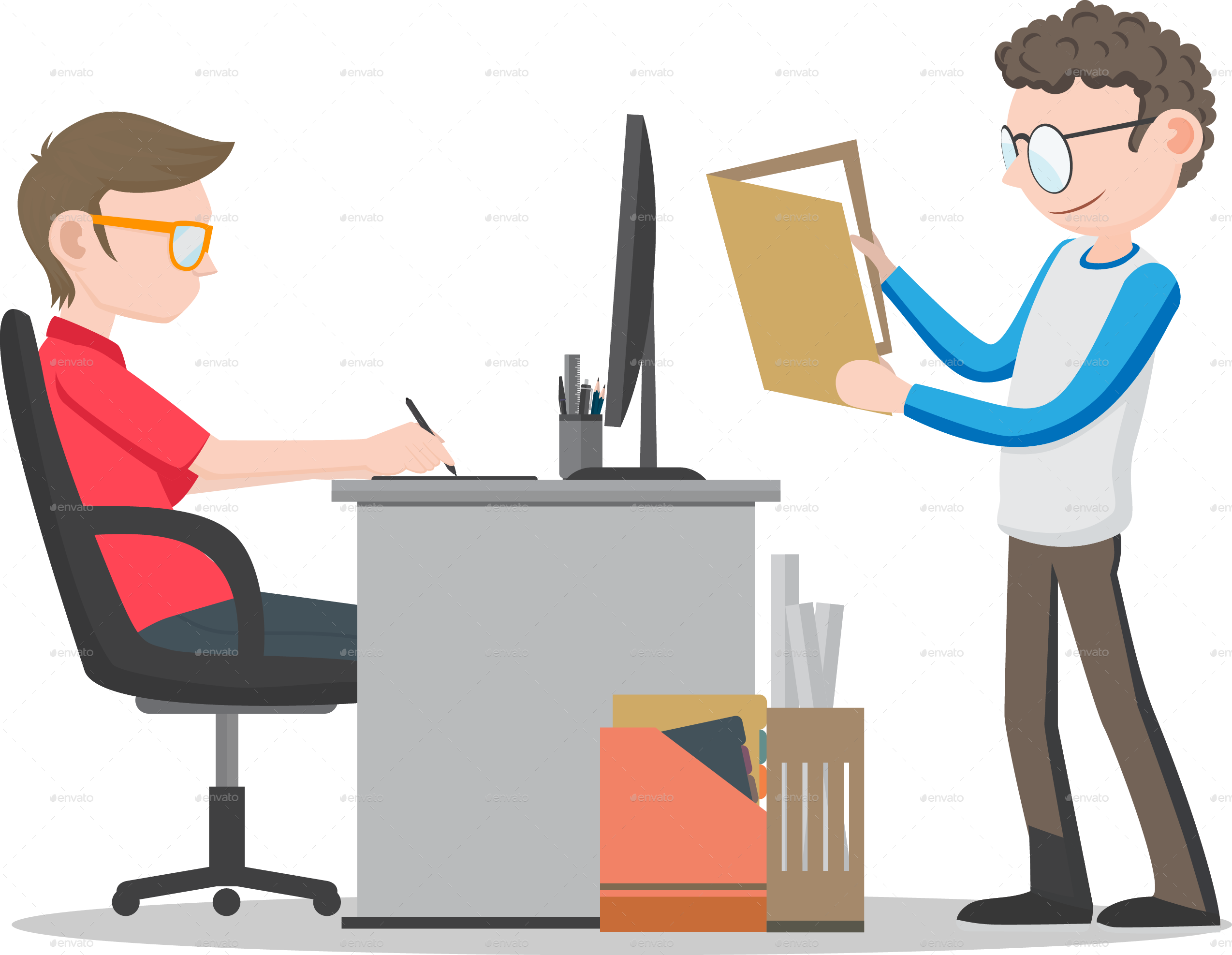 collection of worker. Exercising clipart office