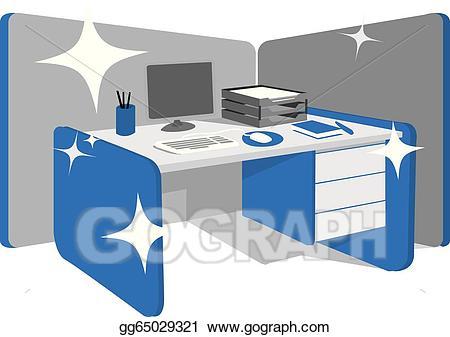 Clean clipart office. Eps illustration desk workstation