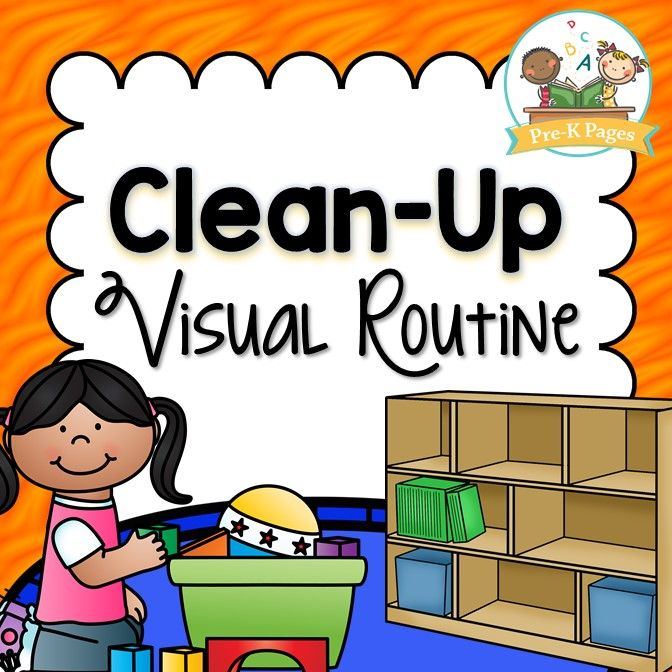 Clean up visual routine. Student clipart pre k