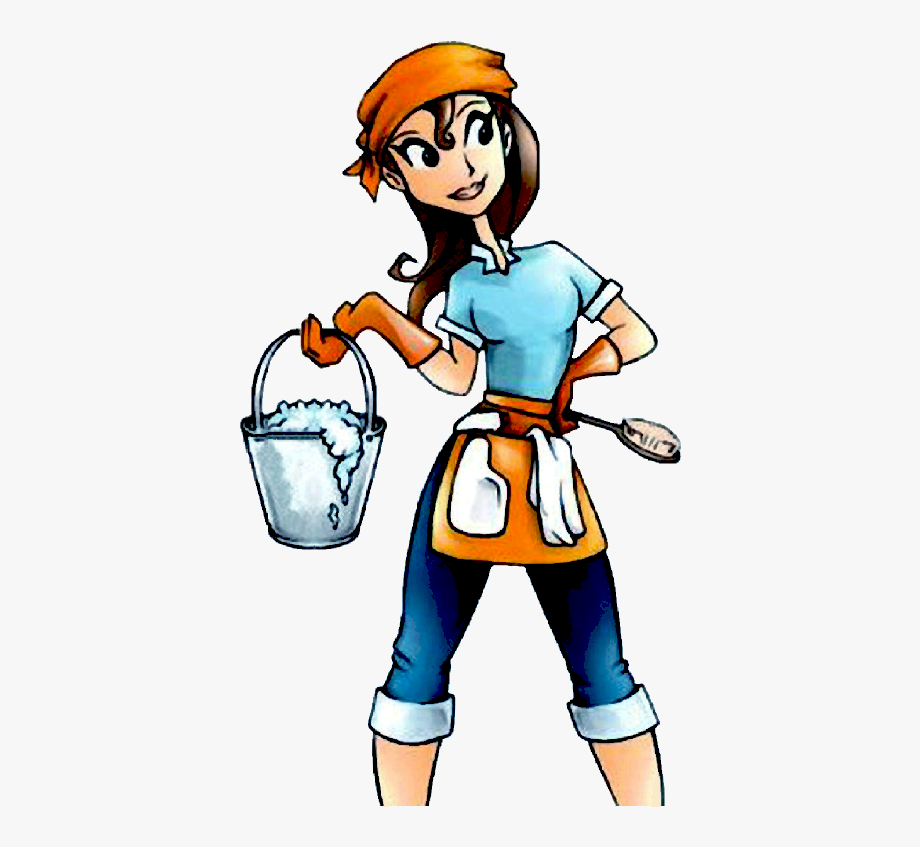 Clean staff services . Maid clipart home cleaning service