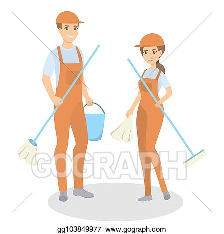 Vector illustration cleaning service. Janitor clipart housekeeping staff