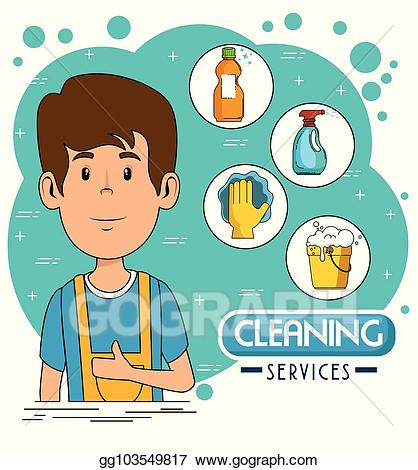 Clean clipart service staff. Vector stock cleaning illustration