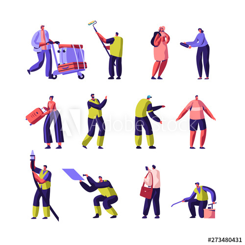 Tourists and cleaning set. Clean clipart service staff