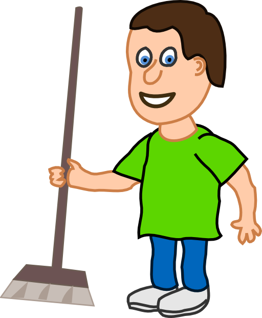 Young clipart 1 boy. Housekeeper with broomstick i