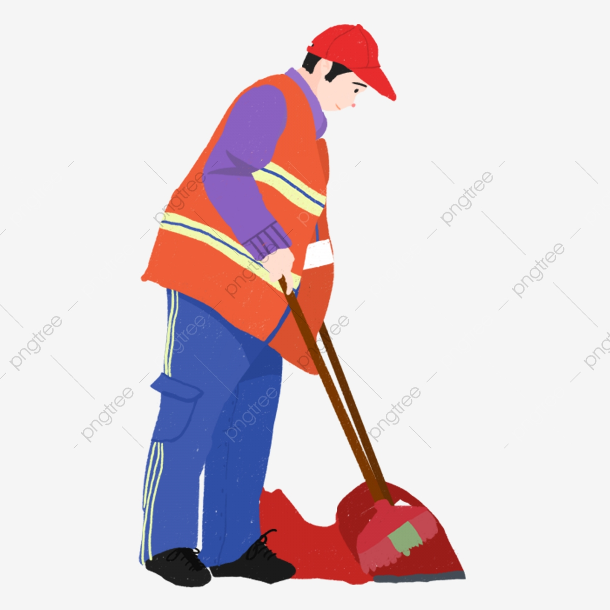 Hand drawn sanitation sweeping. Clean clipart worker