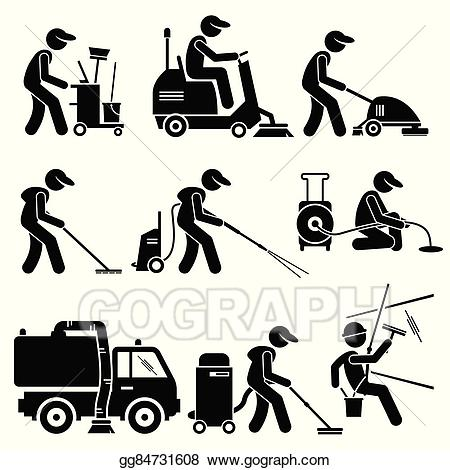Eps vector industrial cleaning. Clean clipart worker