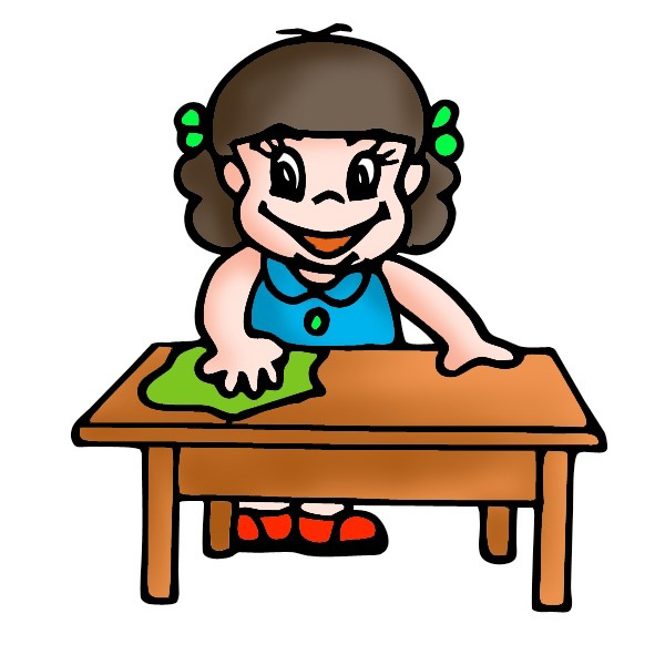 Students clean up room. Cleaning clipart