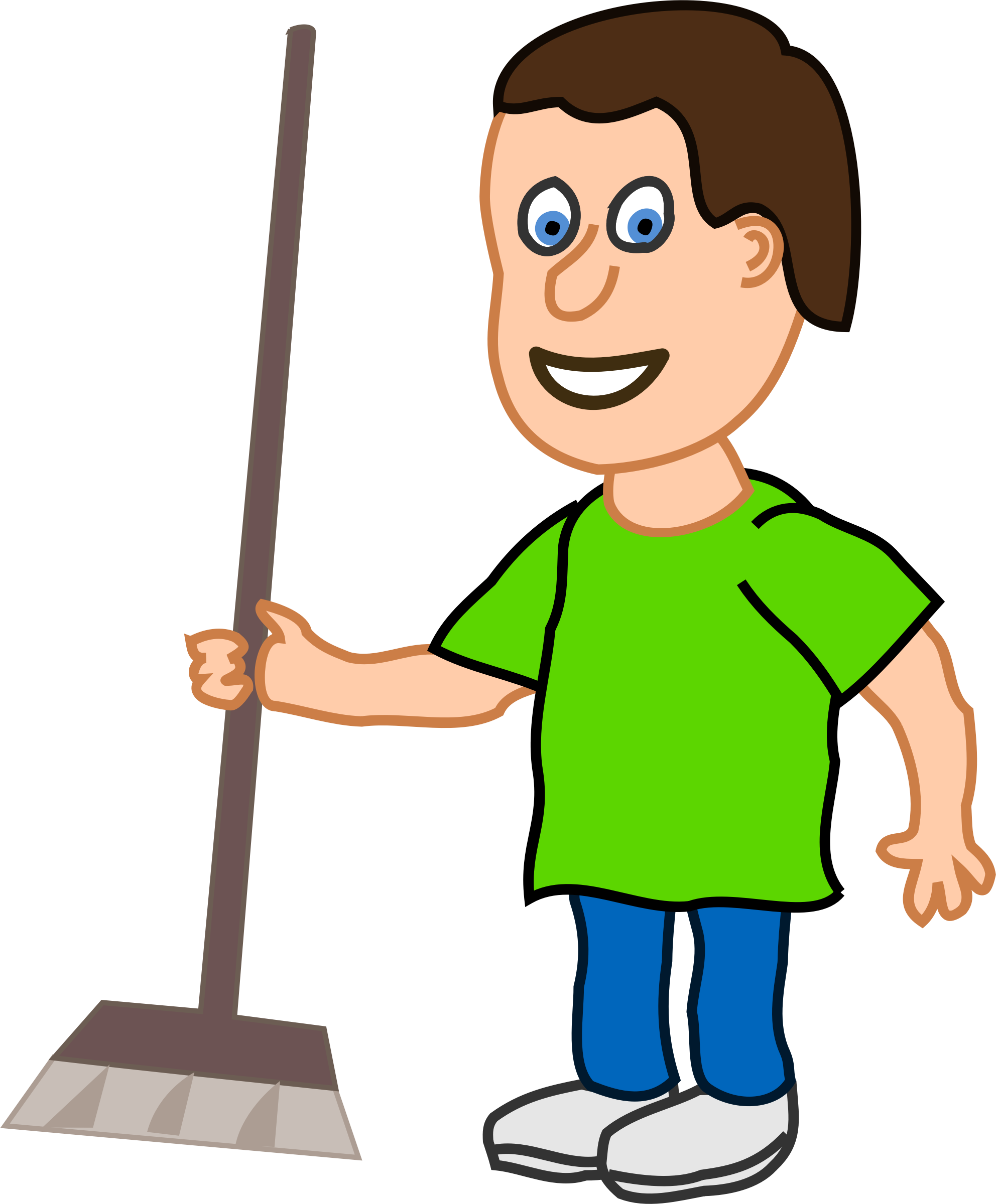 Young clipart small boy. Housekeeper with broomstick big
