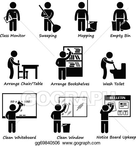 Vector classroom student roster. Cleaning clipart class duty