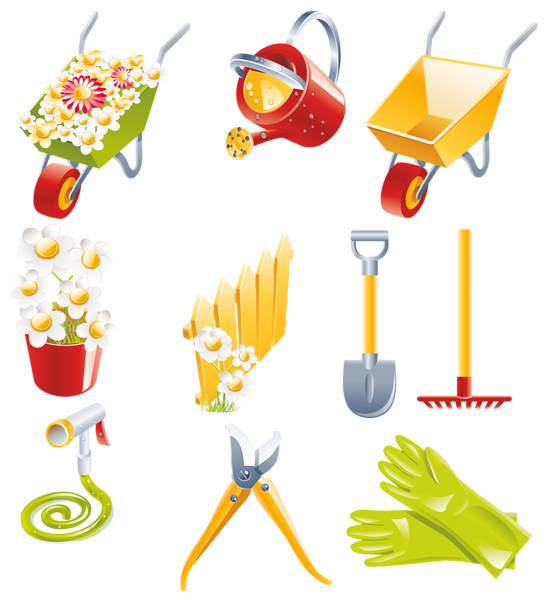 Spring garden collection png. Working clipart yard tool