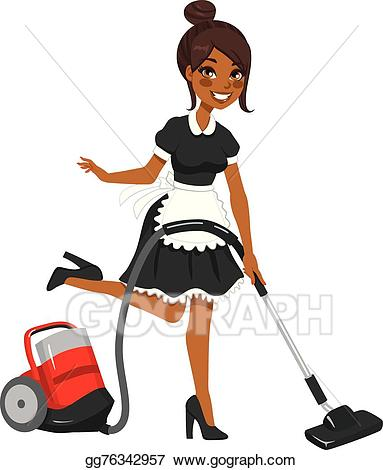 Maid clipart vintage. Vector illustration african american