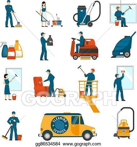 Vector art service flat. Cleaning clipart industrial