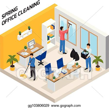 Cleaning clipart office. Vector art isometric composition