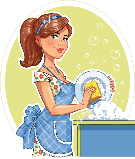 Domestic and commercial cleaning. Maid clipart landlady