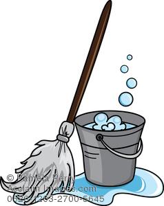 Housekeeping clipart mop bucket. Clip art illustration of