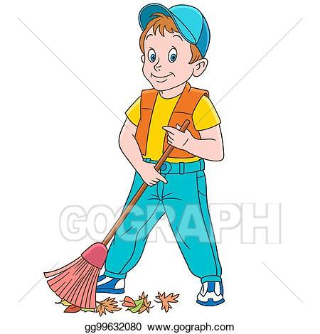 Vector art cartoon boy. Cleaning clipart sweeper