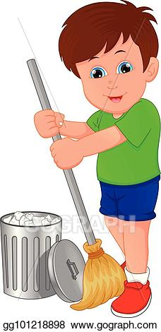 Eps vector little boy. Cleaning clipart sweeping