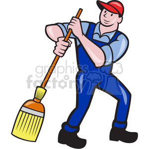 Man broom frnt shape. Cleaning clipart sweeping