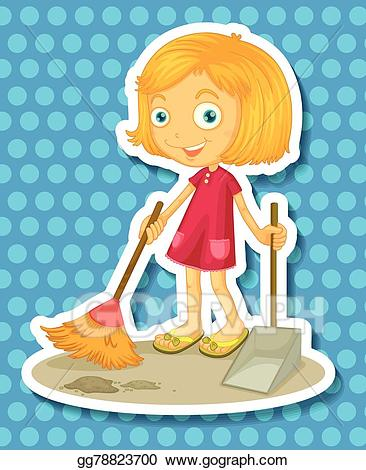 Vector illustration gg . Cleaning clipart sweeping
