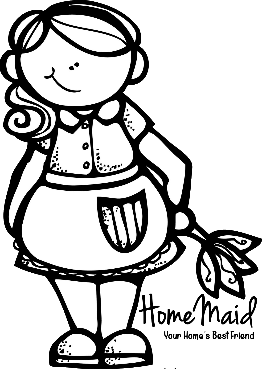 Pin by magiclean services. Maid clipart black and white