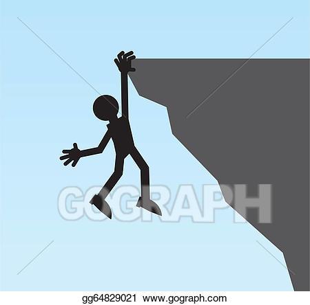 Vector figure hanging illustration. Cliff clipart