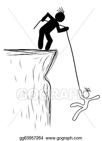 Drawings person pulled the. Cliff clipart drawing