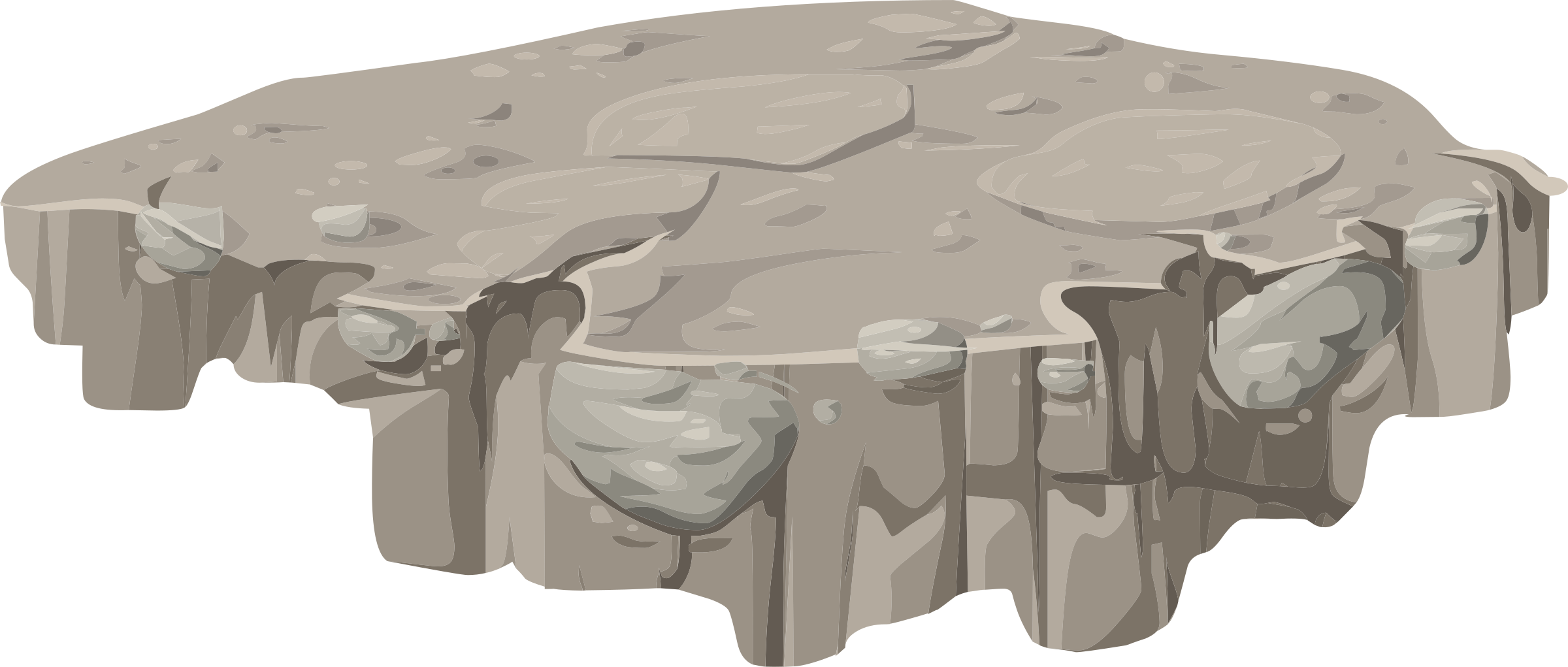 Alpine platform horizontal ledge. Rock clipart landscape