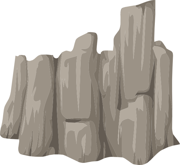 Alpine cliff face skirt. Rock clipart landscape