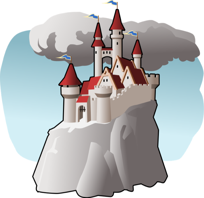 Free in clouds. Clipart castle mountain