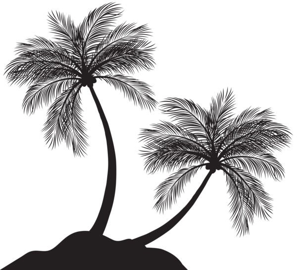 Palm clipart 8 bit. Two trees silhouette png