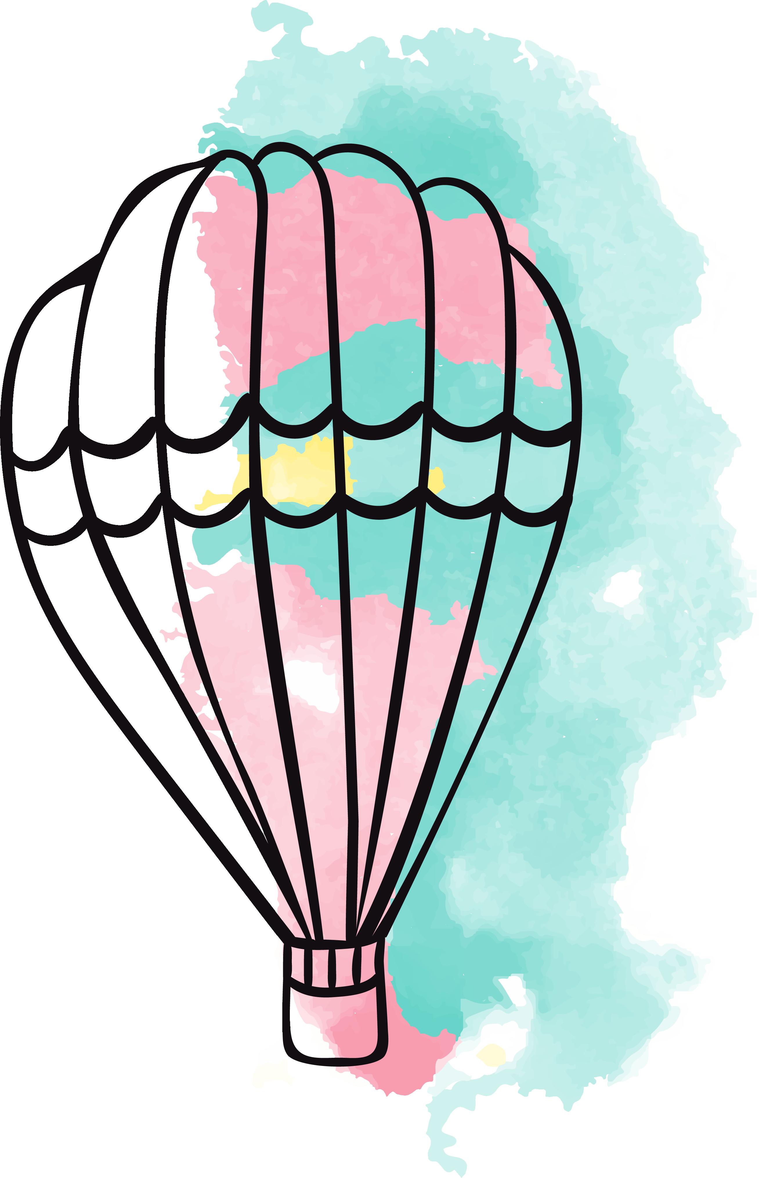 Donut clipart watercolor. Airplane hot air balloon