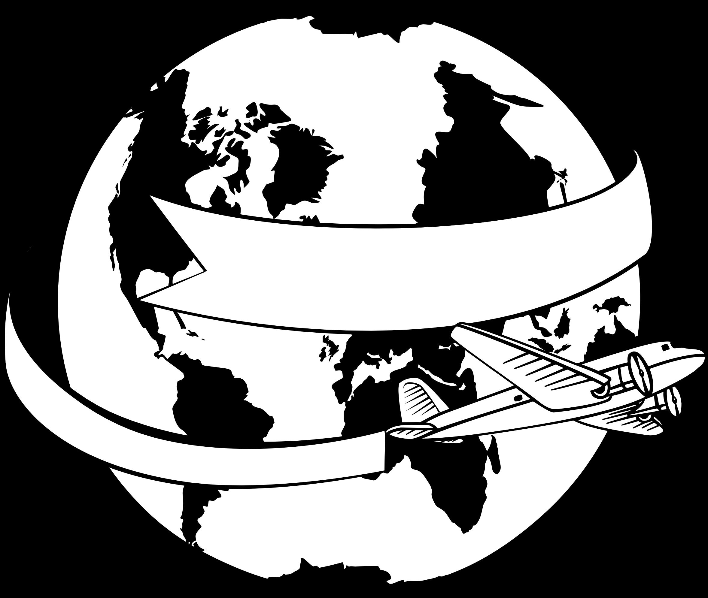 Around the world big. Clipart plane banner