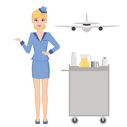 Profession set plane front. Clipart airplane cart