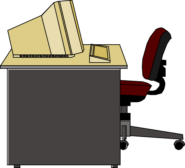 Computer clip art at. Clipart desk desk chair