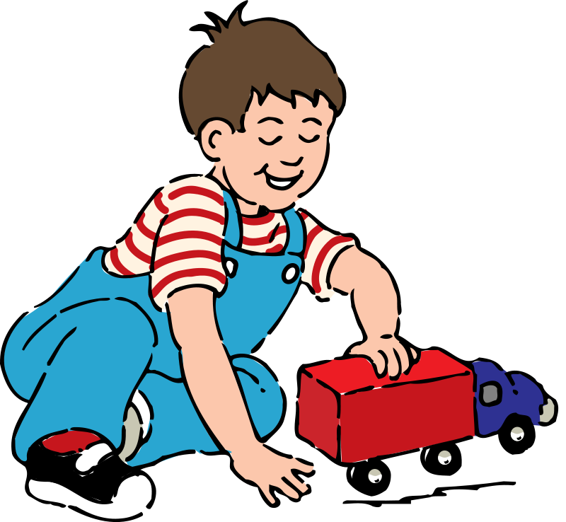 Kids playing with toys. Wildcat clipart baby